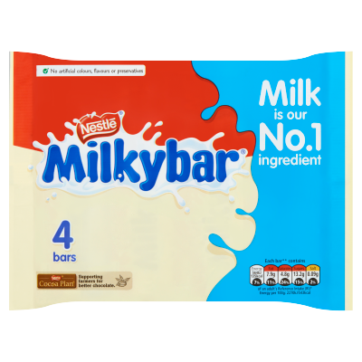 Milkybar<sup>®</sup> White Chocolate Medium Bar Multipack 100g (4 x 25g)