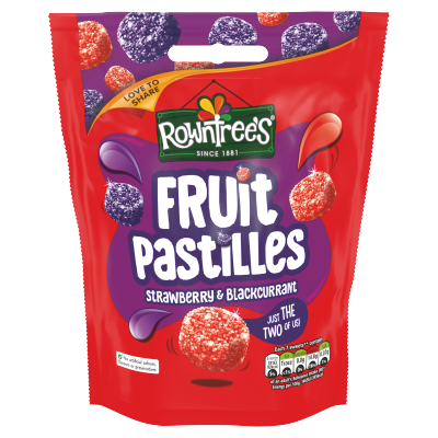 ROWNTREE'S<sup>®</sup> Fruit Pastilles Strawberry &amp; Blackcurrant Sharing Bag 150g