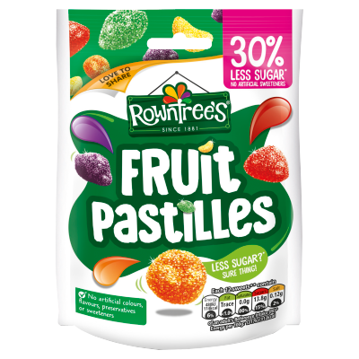 ROWNTREE'S<sup>®</sup> Fruit Pastilles 30% Reduced Sugar Sweets Sharing Bag 110g