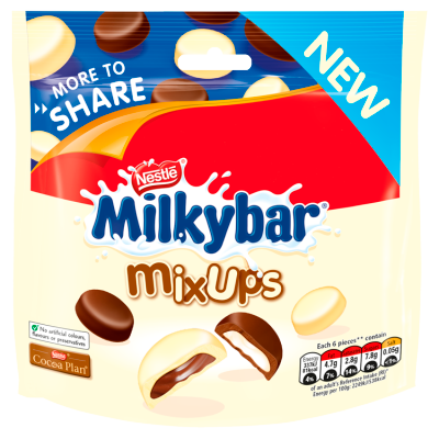 Milkybar<sup>®</sup> Mix Ups White and Milk Chocolate More To Share Bag 196g