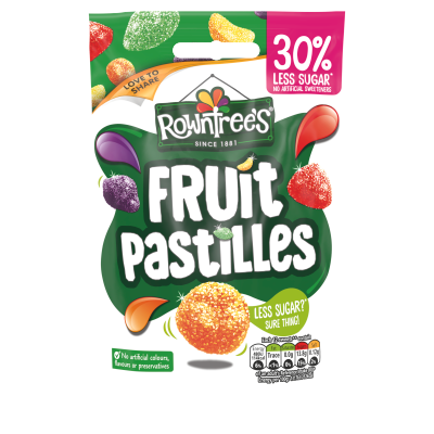 Rowntree's Fruit Pastilles 30% Reduced Sugar Sweets Sharing Pouch 110g