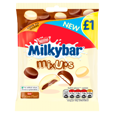 Milkybar<sup>®</sup> Mix Ups White and Milk Chocolate Hanging Bag 78g