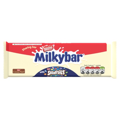 Milkybar<sup>®</sup> White Chocolate & Smarties<sup>®</sup> Sharing Block 100g