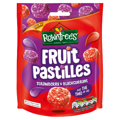ROWNTREE'S<sup>®</sup> Fruit Pastilles Strawberry & Blackcurrant Sharing Bag 150g